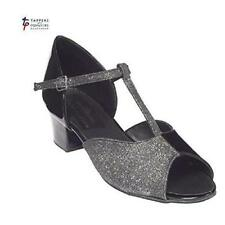 "Mujer Baile Zapatos - Tappers & Pointers Olivia Negro Purpurina 1.5"" Tacón"