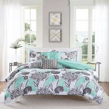 Transitional Bright Aqua Grey Floral Lily Coral Comforter Set Twin Full/Queen