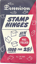 Dennison Stamp Hinges 1000 Pre-folded New Unopened - Free Shipping