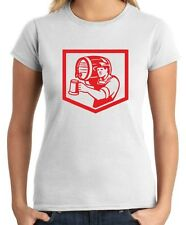 T-shirt Donna BEER0153 Barman Lifting Barrel Pouring Beer Mug Retro