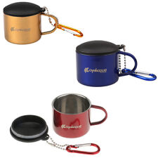 Food-Grade Stainless Steel Cup Coffee Mug with Snap Hook for Camping Outdoor