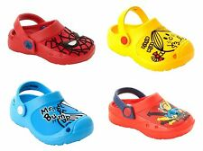 BOYS GIRLS CHARACTER FLAT SLIP ON SUMMER BEACH CLOGS SANDALS SHOES UK SIZE 4-12