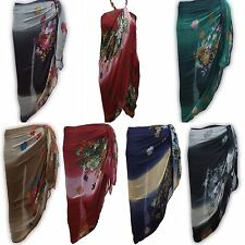 ROSE PRINT OMBRE Large Sarong Beach Pareo Dress Wrap Swimwear Cover Up Unisex