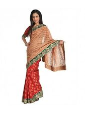 Red Net And Faux Georgette Embroidered Saree With Unstitched Blouse Piece