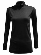LADIES LONG SLEEVES POLO NECK STRETCH TOP TURTLE NECK JUMPER Plus Size