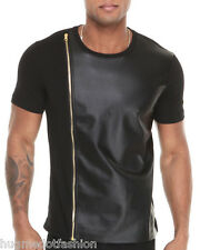 Half Sleeves Genuine Sheep Leather T-shirt Polo Neck TS2 Party Night T Shirt