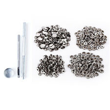Silver Large Press Studs Snaps and Fixing Kit Hole Punch Heavy Duty Tool 15mm