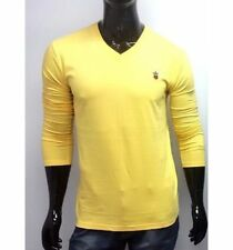 Yellow Louis Philippe LP V Neck T Shirts for Men Full Sleeves Tshirt Size XL