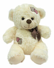 Imported Teddy Bear with Bow and Cream Soft Fur 67.5cm