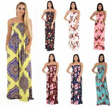 Womens Strapless Maxi Dress Ladies Sheering Boob tube Bandeau Long Lot Size 8-24
