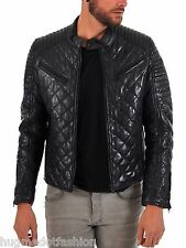 Black Quiled Leather Jacket With Genuine Leather