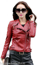 Ladies Short Leather Jacket Slim Fit New Sexy Biker Red Jacket Women's