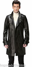 Men' New Stylish Genuine Leather Long Coat/Jacket in Black Color