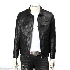 Real Motorcycle Biker Leather Jacket In Black Color