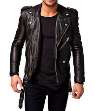 Black Brown Tan Blue Biker Custom Designer Motorcycle Leather Jacket for Men
