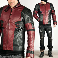 men's new Hollywood style genuine leather Long coat/jacket in Black