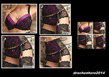 Dessous Set, Sexy, lila, Slip, String, Push-Up, Strapshalter, Neu, edel, BH