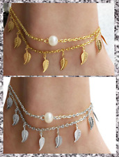 Gold Silver Plated Leaf Faux Pearl Double Layered Chain Anklet Beach Barefoot UK