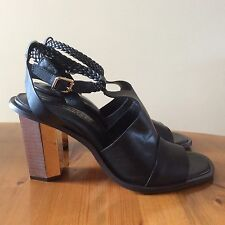 Women's Next Signature Black Leather Sandals, Size 8, BNWT