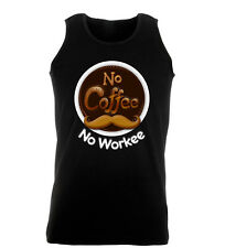 No Coffee No Workee Funny Job Addict Swag Work Out Vest Mens Gym
