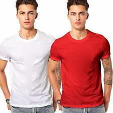 Branded Men Cotton T Shirt - Combo Offer 100% Cotton T Shirt White & Red Color