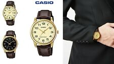 Casio Men's Analog Watches Leather Strap Free Casio Presentation Pouch MTP-V00