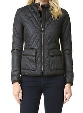 Women's Black Parachute Fabric Quilted Biker Jacket