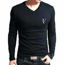 Branded Cotton T Shirt - V Neck RF T Shirt -  RF Logo TENNIS T Shirt Full Sleeve