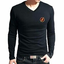 Branded Cotton T Shirt - V Neck Flash Logo Printed T Shirt - T Shirt Full Sleeve