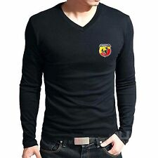 Branded Cotton T Shirt - V Neck Abarth Printed T Shirt - T Shirt Full Sleeve