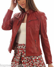 Lambskin Motorcycle Women Jacket Real Bomber in Indian Sheep Leather 1st Grade