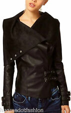 Lambskin Motorcycle Women Jacket Real Bomber in Indian Sheep Leather in Black