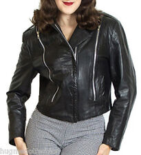 Short Ladies biker Leather jacket/coat with short bottom sexy new in black color