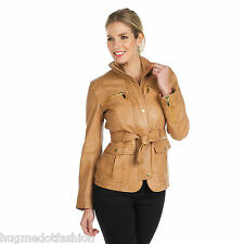 Ladies genuin leather jacket in Tan color new biker jacket coat Trench Lady new