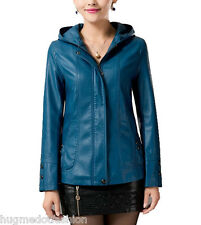 New Women Jacket Real Bomber in Indian Sheep Leather in Black motor cycle n