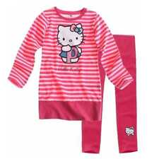 Completo bambina Hello Kitty miniabito rosa e leggings