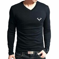 Branded Cotton T Shirt - V Neck RAFA NADAL Tennis T Shirt - Full Sleeve T Shirt