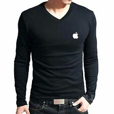 Branded Cotton T Shirt - V Neck Apple Brand Logo T Shirt - Full Sleeve T Shirt