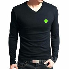 Branded Cotton T Shirt - V Neck Android Logo T Shirt - Print T Shirt Full Sleeve