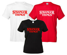 Stranger Things Maglietta Logo Serie TV T-Shirt Uomo Donna Nera Bianca Replica