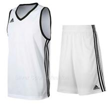 adidas Commander Boys Basketball Kit Vest + Shorts Set  Age 9-16  White  jersey