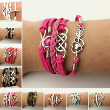 NEW Womens Jewelry fashion Suede Leather Cute Infinity Charm Bracelet Style Pick