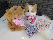 Handmade Cat or Tiny Dog XS Bandanna's Vintage Floral Slip on Collar Beige Pink