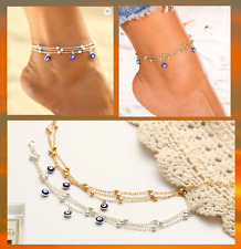 Evil Eye Elegant Sexy Gold Silver Plated Anklet Foot Chain Crystals UK Seller