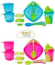 Vital Baby 8 Piece Baby Bowls & Spoons Set - Blue or Pink