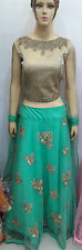 Ethnic Women Silk Lehnga Choli Crop Top Party wear suit with Free Ship