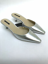ZARA SILVER LEATHER POINTED SLINGBACK MID HEEL MULES SHOES UK 3 4 5 6 NEW BOXED