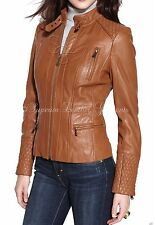 New Vintage Women Tan Slim Fit Biker Motorcycle Soft Leather Zipper Jacket Coat