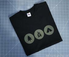 BUSHCRAFT INSPIRED CASUAL BLACK CREW NECK T-SHIRT CAMPING BUSHCRAFT CLOTHING