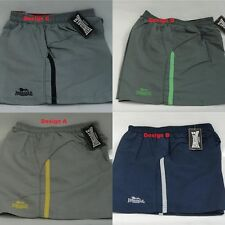 Lonsdale Mens Single Stripe Woven Shorts Black Navy Grey With 3 Zipped Pockets